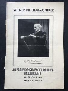 Arturo Toscanini, Concert Programme, Vienna Philharmonic, 1934