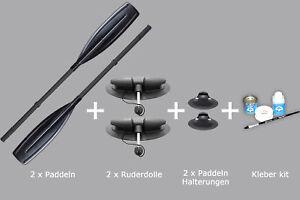 Set: 2 schwarze Paddel (150cm) + 2 Ruderdolle + 2 Paddelhalterungen + Kleber Kit