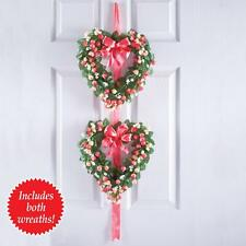 "Valentine's Day Wedding Double Floral Heart & Ribbon Door Wall Wreath 40""L"