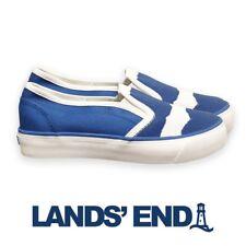 Lands' End Blue Boys Slip On Canvas Pumps Shoes Plimsolls Casual UK Size 2
