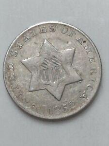 1852 Silver Three Cent Piece Extra Fine Condition