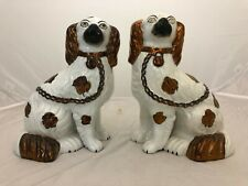 """VINTAGE PAIR 9 1/2"""" H. STAFFORDSHIRE DOGS SPANIELS WHITE AND BRONZE COLOR"""