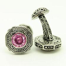 Plata Vintage de Gemelos con piedra rosa