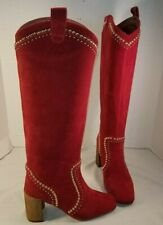 NEW FREE PEOPLE JEFFREY CAMPBELL LOLITA RED SUEDE STUDDED BOOTS WOMEN'S US 6