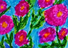 """"""" Funky Flowers #3"""" - Original Abstract ACEO Painting * GlowinGlass *"""