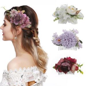 Women's Flower Hair Comb Wedding Hair Clips Pins Bridal Hair Accessories Wedding