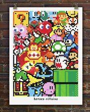 Heroes Villains Donkey Kong Super Mario Nes Mega Man Doe Eyed Mondo Print Poster