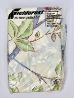 Pair of Vtg Fieldcrest King Pillowcases No Iron Percale Green & Blue Pin Flowers
