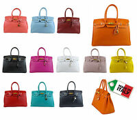BORSA DA DONNA VERA PELLE MADE IN ITALY STILE FG BIRKIN
