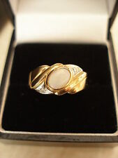 9CT GOLD OPAL & DIAMOND DRESS RING BRAND NEW IN BOX MADE IN ENGLAND PURE QUALITY