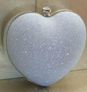 Silver Sparkly Glitter Heart Diamante Wedding Bridal Clutch Handbag Purse Bag
