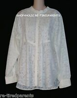 COLDWATER CREEK – BLOUSE SHIRT TOP SEMI-SHEER CREAM / IVORY - SIZE XL - NEW $90