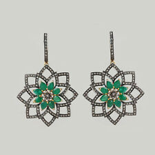 Emerald Gemstone Diamond Pave Wedding Earrings 925 Silver 14K Gold Fine Jewelry
