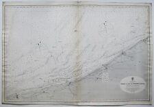 1880 FRANCE CALAIS TO R. SCHELDE ENTRANCE ANTIQUE ADMIRALTY CHART MAP