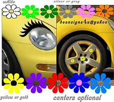 VW beetle smartcar Eyelashes & 12 HUB CAP FLOWERS yellow  tire wheel BONUS offer