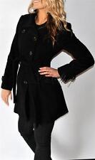 New Womens Kenneth Cole Wool Blend Coat Belted Medium Black