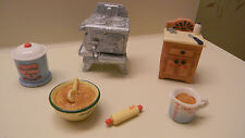 Enesco Doll House Furniture Kitchen Miniatures~Stove~Bowls~Rolling Pin NEW
