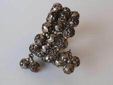 Vintage Copper Silverplated Carved Round Rose Ball Bead Bracelet Bangle Spring