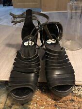 Swedish Hasbeens 7 Black Leather Wood Wedge Heel Sandal Clog Platform AnkleStrap