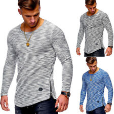 Herren Pullover Oversize Sweatshirt Longline T-Shirt Feinstrick Longsleeve NEU