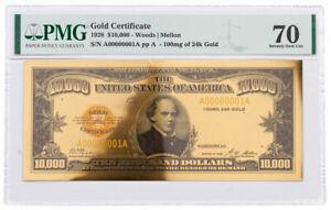 1928 $10,000 24KT Gold Certificate Commemorative PMG 70 Gem Unc