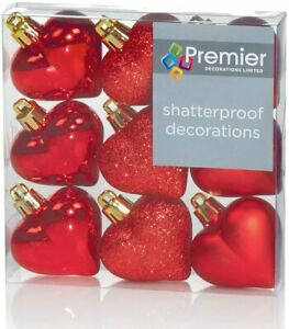 9 Red Heart Shatterproof Hanging Decoration Ornaments 9 hearts 3 Designs