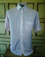 Hathaway Short Sleeve Striped Dress Shirt Button Down Collar White and Red Sz 16
