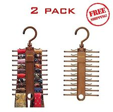 Tie Organizer Closet Hanger Rack Holder Belt 2 Pack x 20 Hook Rotating Storage