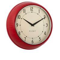 Vintage Uhr Plint Küchenuhr Retro Wanduhr Rot Ø 23cm Shabby  Landhaus Metall
