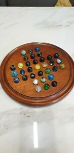 antique wood and marble solitaire game