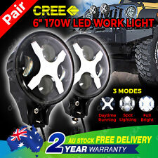 2pcs 6inch 170W Cree Spot LED Work Light Replace HID Offroad Driving Bar Round