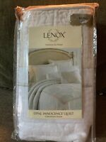 "Lenox Opal Innocence 18/"" Square Pillow Embroidered Damask Beige White Solitaire"