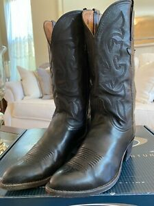 Lucchese Men's Hand Made Pointed Toe Black Calf Western Cowboy Boots Size 7E!