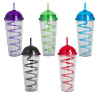 5 Pack 20 Oz. Plastic Double Wall Cold Drinks Tumbler with Straw and Lid
