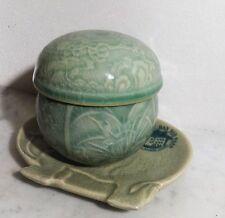 Vintage tea pot - Jadegrüne Fayence Teefilter Tasse m. Deckel und Ablageschale