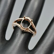 Rose Gold Semi-Mount Natural Diamond Ring 6x8mm Oval Cut Solid 14kt 585