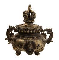 Incensiere Tibetano Brucia Incenso Ottone Dragon Dorje Chepu-Ritual Tibet -923