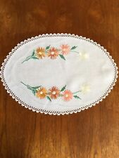Vintage Hand Embroidered Linen Large Doily Duchess Dressing Dining Table Crochet
