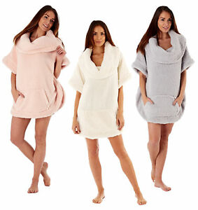 Womens Luxury Bath Robe Designer Sherpa Fleece Coatigan Snuggle Wrap Poncho Size