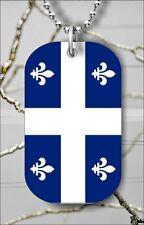 """FLEUR DE LIS QUEBEC FLAG DOG TAG NECKLACE 30"""" FREE CHAIN - vu76xe"""