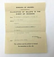 1942 Allocation of Billets In The Event of Invasion Arundel Mayor RW Pearson