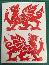 2 x Wales Welsh Dragon Stickers Decals L + R Side Van Vinyl Decal Wall Art 42