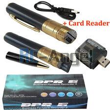 Spy Rec Pen Camera Mini Hidden DVR Surveillance Video Cam USB Gold +8GB MEM HD