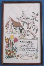 VINTAGE HAND EMBROIDERED PICTURE PANEL ENGLISH COUNTRY COTTAGE GARDENS SUPERB