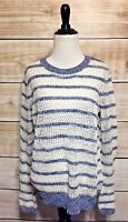 Xhilaration Women's Blue Ivory Striped Crochet Sweater Medium NEW