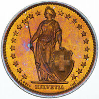 1974 SWITZERLAND HELVETIA 2 FRANCS GOLDEN BU GEM GORGEOUS COLOR UNC TONED (MR)