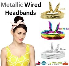 METALLIC WIRED HEADBAND Silver Rainbow Gold Hair Band Bandana Scarf Fancy Dress