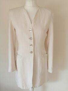 LAURA ASHLEY 1990's vintage SILK & LINEN IVORY PEARLISED BUTTON JACKET 10 38 VGC