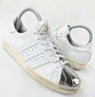 Adidas Superstar '80s Trainers White Leather Silver Metal Toe Cap UK 5 EU 38