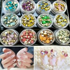 12Boxes Hot Women Crystal Glass Round Nail Art Sticker Rhinestone Opal Gem Beads
